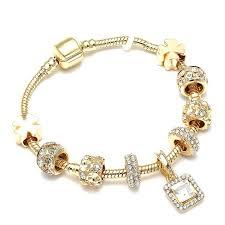 <b>Luxury</b> Crystal Heart Gold Color Charm Bracelet For Girl Murano ...