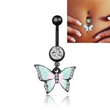 <b>1Pc New</b> Butterfly <b>Belly</b> Button Body Piercing <b>Navel</b> Ring Stainless ...