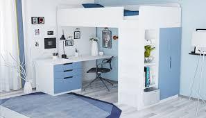 <b>Кровать</b>-чердак <b>Polini Simple</b> с письменным столом и шкафом ...