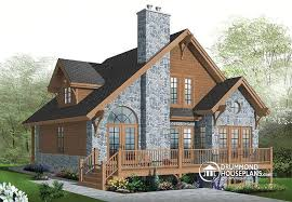 W  V   bedroom Rustic chalet A Frame house plan  open living    W  V   bedroom Rustic chalet A Frame house plan  open living dining  fireplace  mezzanine  amp  large terrace   Double Fireplace  Chalets and Mezzanine