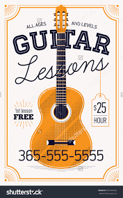 royalty guitar lessons vector poster or banner  guitar lessons vector poster or banner template vintage feel musical education concept layout ideal for flyers posters and advertisement stock