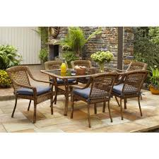 spring haven brown 7 piece all weather wicker patio dining set with sky blue awesome home depot patio