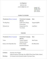 acting resume templates – free samples  examples   amp  formats    beginner acting resume template format