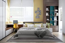 modern bedroom concepts:   yellow white bedroom decor