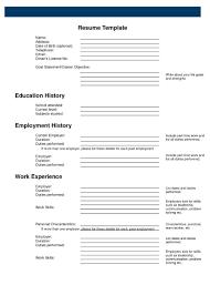 printable job resume form   get free resume templatesprintable job resume form template