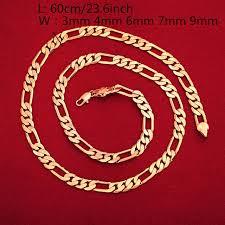 24K Gold Necklace Jewelry Mens Small Medium <b>Big Size</b> Figaro ...