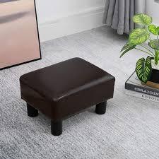 HOMCOM <b>PU Leather Footstool</b> Foot Rest Small Seat Foot Rest ...