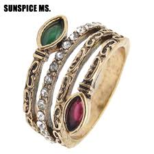 Classic <b>Indian Retro Vintage</b> Ring For Women <b>Antique Gold</b> Color ...