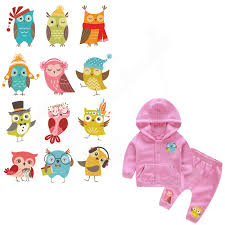 12 patterns/combo <b>Cartoon Owl</b> designs Children Clothing stickers ...