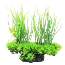 <b>1 Pcs Artificial</b> Plastic Plants Ceramic Base Water Grass for ...