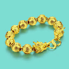 <b>New Chinese style</b> gold jewelry men 24k gold bracelet dragon ...