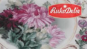 Вышивка гладью по набору Риолис <b>Тарелка</b> с хризантемами ...