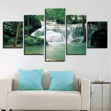Canvas HD Prints Pictures Bebroom Wall Art <b>5 Pieces</b> Forest Lake ...