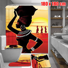 African Girl <b>Waterproof</b> Fabric <b>Shower Curtain</b> With 3pcs Toilet ...