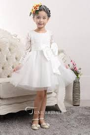 <b>Lovely</b> Tulle <b>Lace Flower Girl</b> Dress Bowknot Long Sleeve Zipper ...