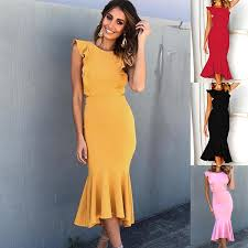 <b>S XL Women O Neck</b> Sleeveless Midi Dress Lady Night Evening ...