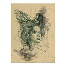 Original <b>art</b>. <b>Surreal woman</b> portrait with bird skull and <b>wings</b> in her
