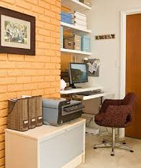 convert an awkward little nook into a home office by installing sturdy shelves a home office
