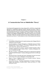a communitarian note on stakeholder theory springer inside