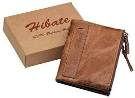 Hibate <b>Men Leather</b> Wallet RFID Blocking <b>Men's</b> Wallets Credit Card ...