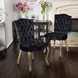 Christopher Knight Home Moira Velvet <b>Dining Chairs</b>, <b>2</b>-<b>Pcs</b> Set, Black