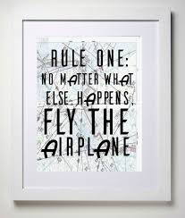 fly the airplane 8x10 aviation map art print rules of flying wall decor art force office decoration