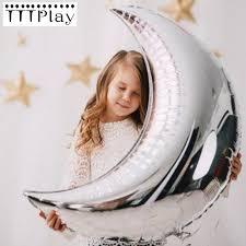 <b>36 inch Large</b> Size Gold Silver Moon Shape Aluminum Foil <b>Balloon</b> ...