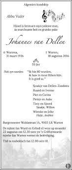 johannes van dellen overlijdensbericht en condoleances mensenlinq nl overlijdensbericht johannes van dellen friesch dagblad klik hier om in te zoomen