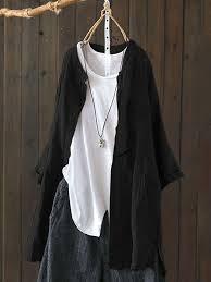 <b>S</b>-<b>5XL Women</b> Long Sleeve Button Down Cotton Asymmetric ...