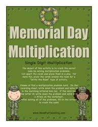 Math Activities - Have Fun TeachingMemorial Day Multiplication Activity