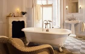 chic design ideas of bathroom interior with brown wicker chairs also white free standing bathtubs and captivating bathroom lighting ideas white interior