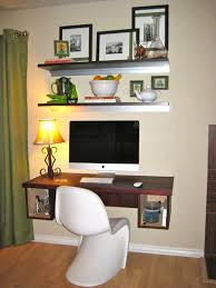 living room desks furniture: office wall mounted computer desk designs for home with opened shelves and yellow shade table