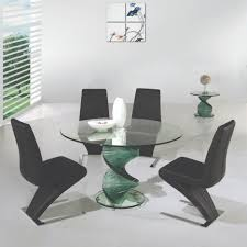dining room khaki tone: ultra modern dining table set features transparent rounded dining