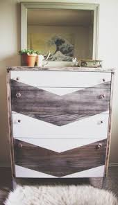 painted chest of drawers dresser with wood stain and painted chevron design trendy vintage home chevron painted furniture