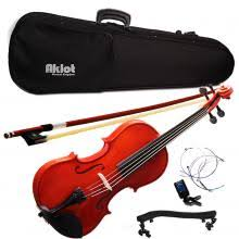 Violin <b>4/4 Full Size Natural</b> Acoustic Fiddle with Case Bow Shoulder ...