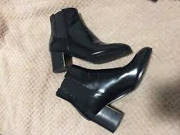 JIL SANDER NAVY Patent Leather Gusset Ankle Boots With Heel ...