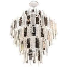 venini style multi tier chandelier with smoked mirrored hand beveled glass prisms from chandeliers and pendant lighting