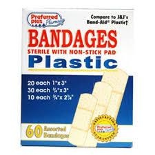 Bandages <b>Plastic Adhesive Bandages</b>, Assorted Sizes - 60 Ea - Buy ...