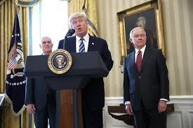 trump defends sessions calls russia accusations total witch hunt president donald trump c delivers remarks before the swearing in ceremony for sen