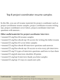 top8projectcoordinatorresumesamples 150426010506 conversion gate02 thumbnail 4 jpg cb 1430028352