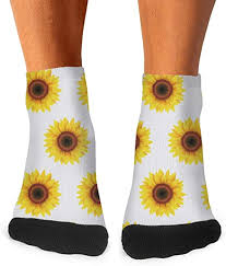 Sunflower Floral Repeat <b>Low Cut</b> Socks for <b>Mens</b>' Slouch <b>Four</b> ...
