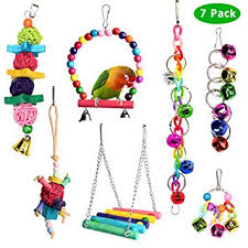 ACEONE <b>Bird Parrot Toys</b>, Colorful Wooden Chew Hammock Swing ...