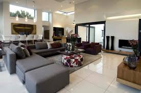 l modern living room design ideas with beautiful grey soft microfiber sectional sofa includes sweet pillows also dark brown wooden coffee table plus beautiful brown living room