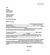 Sample Alimony Letters alimony agreement letter