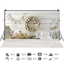<b>Laeacco</b> Easter <b>Backdrops Gray</b> Wooden Floor Eggs Chick Rabbit ...