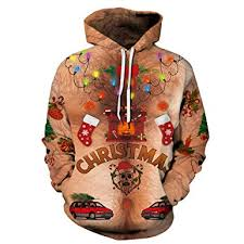 <b>Men Women</b> Ugly Christmas Hoodie Sweatshirts Long Sleeve ...
