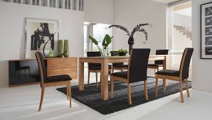 chair dining tables room contemporary:  contemporary dining room plus light wood trendy black chairs with mirrored credenza feat potted indoor plant decor and black shag rug in