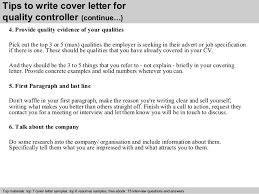 quality controller cover letter      tips to write cover letter for quality controller