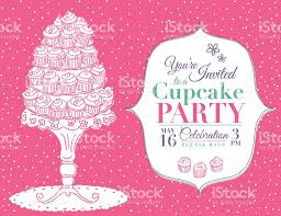 cartoon cupcake party invitation template pink stock vector art cartoon cupcake party invitation template pink royalty stock vector art