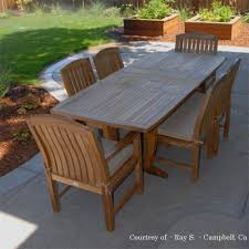 patio dining:  teak outdoor patio dining set agean table amp zaire chair